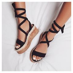 Sandals Lace-Up Strappy Platform Open Toe Shoes Strappy Sandals, Shoes Sandals, Black Flatform Sandals, Sandals Platform, Women Sandals, Espadrilles, Mode Shoes, Open Toe Shoes, Prom Shoes
