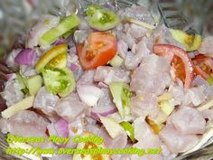 Kinilaw na Blue Marlin with Green Tomatoes, I have first tasted this during m. Filipino Dishes, Filipino Recipes, Filipino Food, Sisig, Calamansi, Blue Marlin, Red Snapper, Red Tomato, Fish And Meat