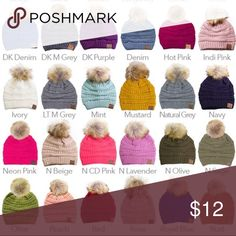 C size OS Hats at a discounted price at Poshmark.C Pom Pom Knit Beanie Hat  Acrlic. 26e5f22656cd