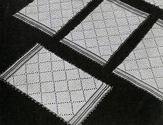 Diamond Luncheon Set #crochet pattern originally published in Modern Table Settings, Spool Cotton Book 88.