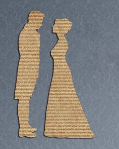 silhouettes from newsprint or book pages...just lovely- Save a newspaper from wedding day or baby's birthday and make the silhouette from that!