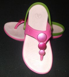 Crocs Pink & Green Buttoned Flat Sandals Girls Size 2 Crocs Pink Strap Sandals