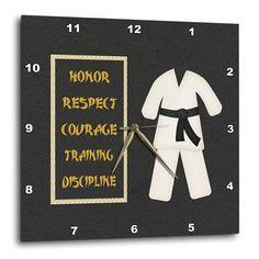 ed5ce3f0c 3dRose Karate Karategi Uniform Black Belt Honor Respect Courage Train  Discipline, Wall Clock, 15 by 15-inch - Walmart.com