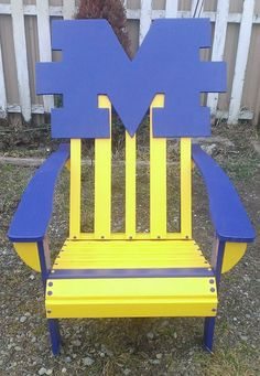 Relax in style with this maize and blue chair!