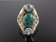 New addition to our shop! Use code SAGEINSPIRATIONS10 for a 10% discount at checkout. Turquoise & Bue Topaz Sterling Silver Ring - Size 8.5 - $110.00