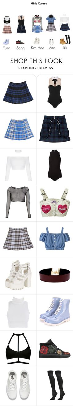 """""""Girls Xpress"""" by sehunnny ❤ liked on Polyvore featuring Fleur du Mal, Vanessa Mooney, Laurence Dacade, Vans, Steve Madden, Timberland, kpop, plaid, edgy and korea"""