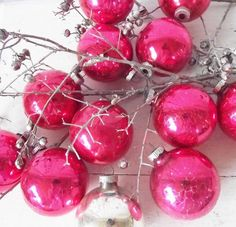 Raspberry pink ornaments