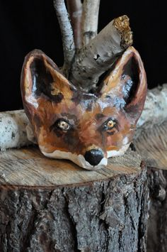 Mr. Fox Children's Mask Paper Mache' Headpiece/ Play by MouraMae