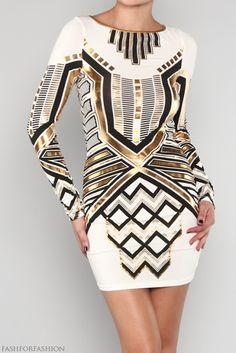 #gold and #black detailed #aztec dress, pretty but powerful