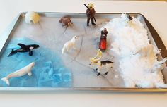 One of my favorites. Our small little world arctic edition. Jagger loved this. You have to make the play snow for your little ones. It was so much fun. I also just froze water in a baking sheet and then cracked it the and the water is  tissue squares. #teamjagger #jaggernash #smartlittlestars #smallworld #toddlerlife #lovelearning #toddleractivities #learnathome #learnthroughplay #invitationtoplay #activetoddler #totschool #finemotorskills #homeschooltoddler #earlylearning #earlyeducation…