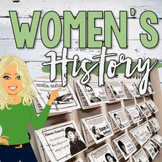 Review the many contributions of women in history with this interactive Women's History Bulletin Board! Each bulletin board card includes an image, quote, and facts about twenty amazing women in history. Each card also includes a QR code enabling students to learn more about their favorite women in history! Features 23 important figures in U.S. History, 2 interactive notebook pages, and 32 Women's History task cards! An instruction sheet is also included. History Class, Women's History, History Bulletin Boards, Howard Zinn, Interactive Notebooks, Enabling, Teacher Pay Teachers, Task Cards, American History
