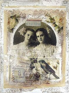 A Sister's Love ~ lovely Shabby Chic heritage collage page.