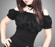 f051ae9b394 Gypsy blouse black goth boho puffy sleeves by PaperCatsPL on Etsy