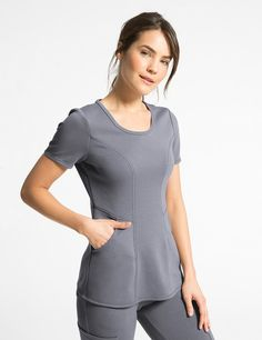 The Ponte Scoop Neck Top in Graphite is a contemporary addition to women's medical scrub outfits. Shop Jaanuu for scrubs, lab coats and other medical apparel. Vet Scrubs, Medical Scrubs, Medical Uniforms, Work Uniforms, Nursing Wear, Nursing Clothes, Stylish Scrubs, Scrubs Outfit, Lab Coats