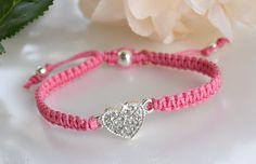 Girls Crystal Heart Friendship Bracelet by HeartofGems on Etsy