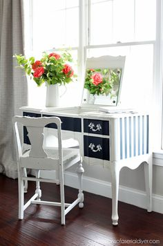 Painted French Provincial Dressing Table from confessionsofaserialdiyer.com