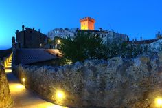 A nice night view of Capalbio by night and its walls, Silver Coast, Maremma, Tuscany, Italy
