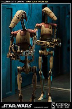 Security Battle Droids - Star Wars Sixth Scale Figure Set of 2 Star Wars Clones, Star Wars Clone Wars, Star Wars Set, Star Wars Ships, Vaisseau Star Trek, Guerra Dos Clones, Figurine Star Wars, Film Science Fiction, Combat Suit