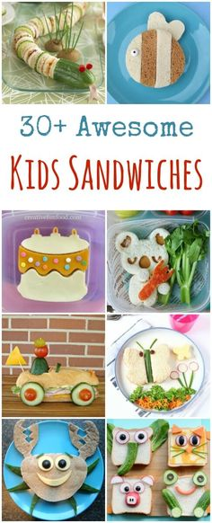 35 Fun Sandwiches for Kids More than 30 fun sandwiches for kids - these cute sandwich ideas are perfect for cooking with kids, school lunch ideas and party food too Food Art For Kids, Cooking With Kids, Food Kids, Easy Cooking, Healthy Cooking, Healthy Food, Cooking Recipes, Toddler Meals, Kids Meals