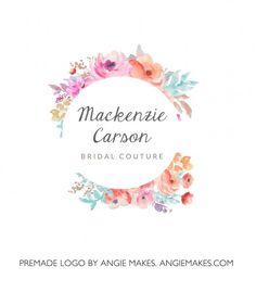 Watercolor Flower Wreath Logo Design | http://angiemakes.com