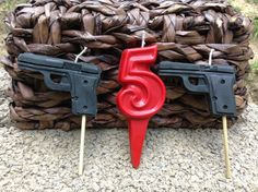 Gun birthday candles 6.00 by BabyBearCrayons on Etsy