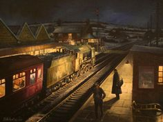 Painting by David Halliwell Train Pictures, Cool Pictures, Nocturne, Uk Rail, Railway Posters, Train Posters, Art Posters, Nostalgic Art, Train Art