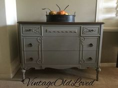 Vintage Buffet Dresser. Annie Sloan French Linen with  General Finishes Antique Walnut Gel stain