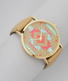 Loving this Geneva Platinum Bone & Pink Tribal Leather-Band Watch