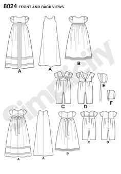 Keep tradition alive, or start a new tradition with these classic christening gowns and one piece suits. Bonnets in two styles also included in M and Simplicity sewing pattern. Christening Gowns For Boys, Baptism Gown, Baby Baptism, Wedding Dress Crafts, Wedding Dress Patterns, Sewing Kids Clothes, Baby Sewing, Baby Blessing Dress, Baby Girl Patterns