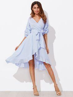 Gathered Sleeve Surplice Wrap Pinstripe Dress -SheIn(Sheinside)