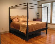 Classic Canopy Pencil Post Bed | Queen | Farmhouse Americana Country Black Over…