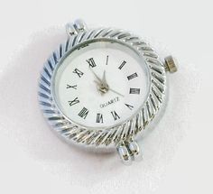 1 Quartz Watch Face, round shaped Silver Tone - craft supplies, jewelry making W41S by AndreasArtJewelry on Etsy