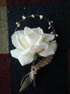 Country Rustic Burlap boutonniere