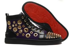 Christian Louboutin Purple Suede gold Spike Ventilate Hole High Sneakers