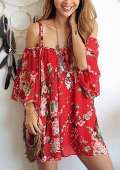 ‰÷Û Happiness is a day at the Beach ‰÷Û Women Floral Batwing Off Shoulder Beach Chiffon Casual Mini Dress - Crystalline