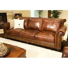 Tips That Help You Get The Best Leather Sofa Deal. Leather sofas and leather couch sets are available in a diversity of colors and styles. A leather couch is the ideal way to improve a space's design and th Full Grain Leather Sofa, Rustic Leather Sofa, Genuine Leather Sofa, Best Leather Sofa, Brown Leather, Leather Couches, Rustic Sofa, Real Leather, Leather Furniture