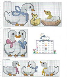 Duck cross stitch pattern. I think my mom or grandma used to have stuff with these ducks on it.
