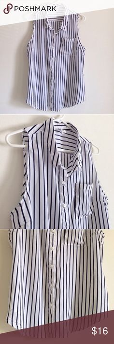 "Striped Sleeveless Top Colors are navy blue with white stripes. One pocket. Buttons. Lightweight. 100% polyester. It is look alike brand new. Measurement laying flat: bust: 21.5"" length: 27.5"" Old Navy Tops Button Down Shirts"
