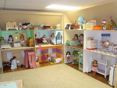 american girl house huge American Girl dollhouse: i just looked through this Picasa album. this was made for three girls (judging from the pics), i think we could do nice American Girl Storage, American Girl Doll Room, American Girl House, American Girl Furniture, American Girl Crafts, American Girls, American Girl Dollhouse, Doll Organization, Doll Storage