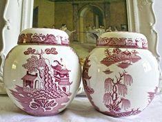 Vintage Twining's Pink Willow Tea Caddies/Ginger Jars with Willow Pattern, Tea Companies, Ginger Jars, Uk Shop, Pink White, Etsy Shop, Display, Vintage, Floor Space