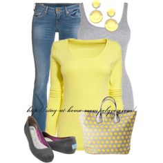 Casual Yellow & Grey Outfit by stay-at-home-mom on Polyvore featuring True Religion, TOMS and Merona