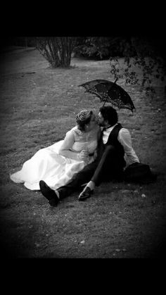 Wedding, black and white, umbrella, ours