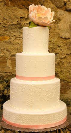 Wedding Cake with piped pearls and sugar flower