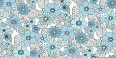 Happy (3852) - Eco Wallpaper Wallpapers - A bold floral design with large scale flowers in bright shades of blue with grey leaves in a 70s style print. Other colours also available. This is a paste the wall product. Please request a sample for true colour match.