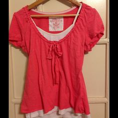 Pink Top w/Bow! Pink top with a pseudo white tank top built-in. Super-cute pre-loved top. Currants  Tops Tees - Short Sleeve