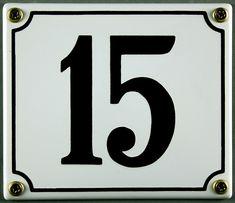 Hausnummernschild 15 weiß 12x14 cm sofort lieferbar Schild Emaille Hausnummer Haus Nummer Zahl Ziffer Metallschild