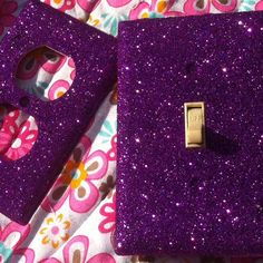 Violet Purple Glitter Switchplate / Outlet Set by ArtZodiac. Wonder if glitter and modgepodge would work.