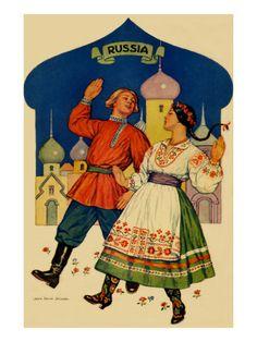 Russian Dancers In a Folk Costume Premium Poster