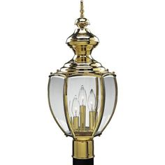 Progress Lighting P5433-10 Post Lantern with Beveled Glass, Polished Brass by Progress Lighting. $135.90. From the Manufacturer                Traditional carriage lantern style with clear, beveled glass panels. BrassGUARD fixtures feature a proprietary lacquer finish proven to extend the life and finish of solid brass fixtures. Post lantern with beveled glass. Uses (3) 60-Watt candelabra bulbs 9-1/2-Inch Diameter x 20-1/4-Inch Height Fits 3-Inch post (sold separately)   ...