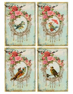 Shabby birds labels